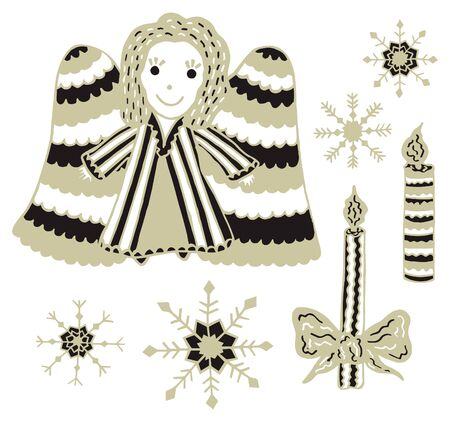 Christmas clipart. Set of an angel, two burning candles and four hand-drawn snowflakes. Gold and black colors. Design elements in scandinavian style on a white background. Vector. Stock fotó - 129676266