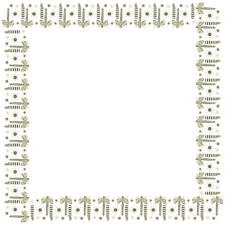Festive square template frame made of burning candles and snowflakes drawn by hand on a white background. For Christmas, New Year, Thanksgiving, etc. Design element in scandinavian style. Vector.