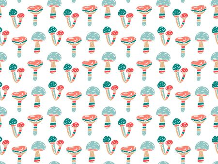 Abstract mushrooms seamless pattern in scandinavian style on a white background. For textiles, wrapping paper, wallpaper, children's clothing, etc. Vector. Illustration