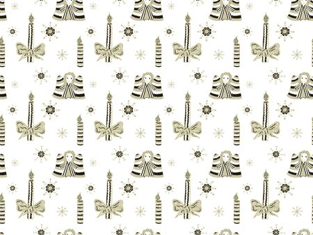 Christmas seamless pattern from hand-drawn angels, candles and snowflakes on a white background Gold and black colors. Vector.