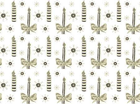 Festive seamless pattern made of hand drawn burning candles and snowflakes on a white background. Scandinavian style. Vector.