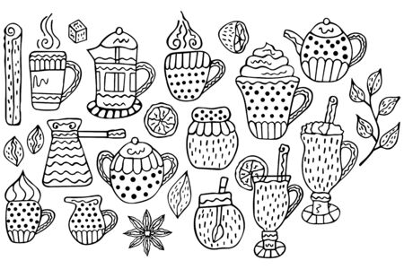 Black-white set of hand-drawn warming beverages and spices in Scandinavian style on a white background. For the menu design, flyers, etc. Vector.