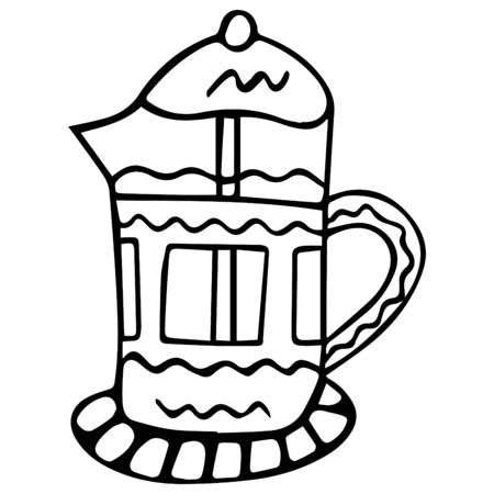 Hand-drawn black and white French press for brewing coffee and tea. Isolated design element in scandinavian style for coloring. Vector. Çizim