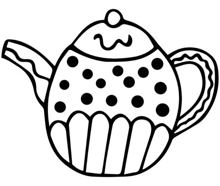 Hand-drawn black and white teapot. Isolated patterned design element in scandinavian style for coloring. Vector.