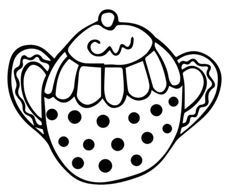 Black and white hand-drawn patterned sugar bowl in Scandinavian style. Isolated kitchen design element. Vector. Illustration