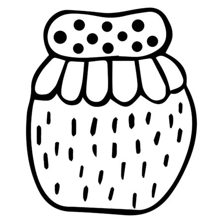 Scandinavian hand-drawn patterned jar with jam or honey. Isolated kitchen black white design element. Vector.