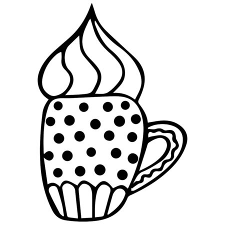 A hand-drawn patterned mug of cappuccino with foam. Isolated black and white doodle for coloring book in the Scandinavian style. Vector. Illusztráció