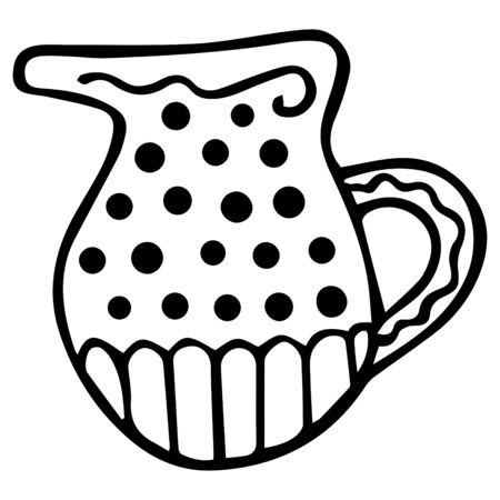 Black-white hand-drawn jug for milk or water. Scandinavian style. Isolated home decor item. Vector.
