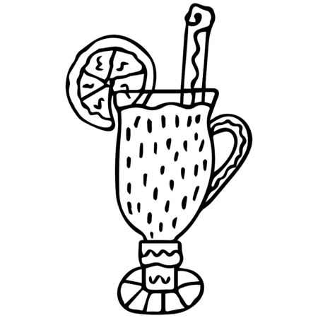Black-white hand-drawn mulled wine in a glass with an orange slice and a cinnamon stick. Scandinavian style. Isolated doodle. Vector. Illusztráció