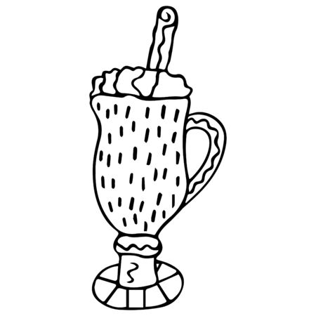 Black-white hand-drawn egg-nog in a glass with foam. Scandinavian style egg cocktail. Isolated doodle. Vector.