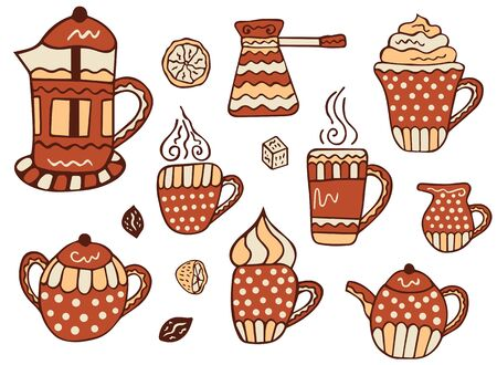 Set of hand-drawn mugs of coffee, tea and cappuccino, a jug of milk, coffee beans, a piece of sugar, half and a slice of lemon, sugar bowl, teapot, French Press and cezve on a white background. Vector