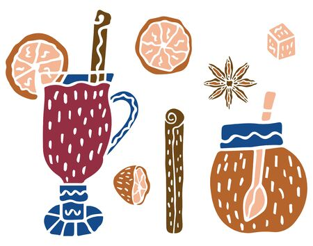 Set in the Scandinavian style of mulled wine in a glass, cinnamon sticks, halves and slices of orange, a piece of sugar, star anise and jars of honey with a spoon inside on a white background. Vector.