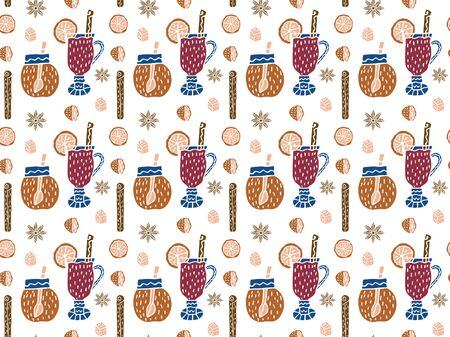 A Scandinavian-style seamless pattern of mulled wine in glasses, cinnamon sticks, halves and slices of orange, a piece of sugar, stars anise and jars of honey on a white background. Vector.