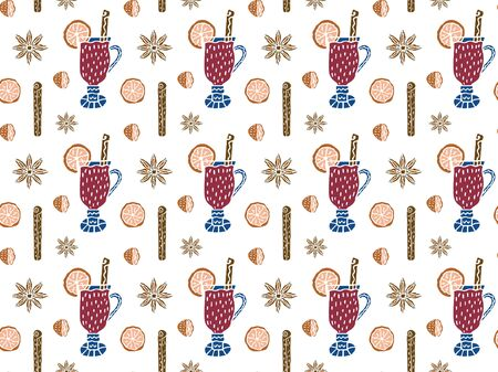 A scandinavian-style seamless pattern made of mulled wine in glasses, cinnamon sticks, halves and slices of orange and star anise on a white background. For wrapping paper, textile, fabric. Vector. Illusztráció