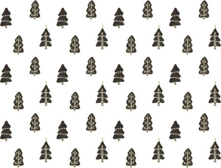 Seamless festive pattern of Christmas trees decorated with balls in the Scandinavian style on a white background. Hand drawing. For Christmas and New Year. For wrapping paper, prints, etc. Vector. Illusztráció