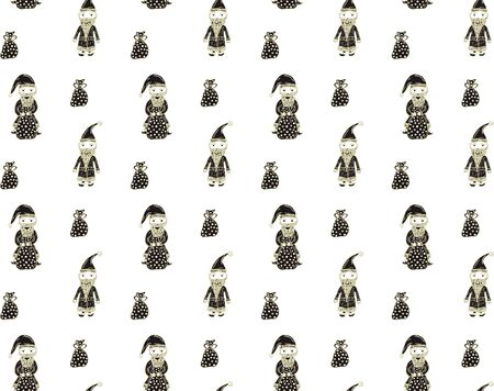 Seamless pattern from hand-drawn Santa Clauses and bags with gifts in Scandinavian style for New Year and Christmas on a white background. Wrapping paper, texture, print, textile etc. Vector.