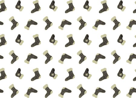 Seamless festive pattern for the New Year and Christmas from black and gold hand-drawn socks in Scandinavian style on a white background. Wrapping paper, print, textile, fabric, etc. Vector. Illusztráció