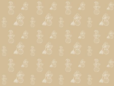 Seamless pattern of hand-drawn snowmen on a gold background. White outlines. Wrapping paper, print, textile, fabric, etc. Vector.