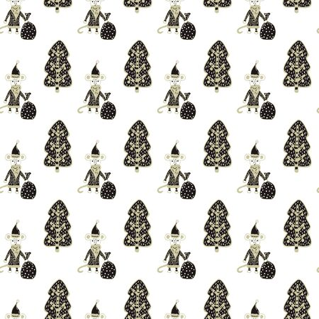 Seamless pattern in Scandinavian style for Christmas and New Year from Santa Claus rats with bags of gifts and Christmas trees decorated with balls on a white background. Freehand drawing. Vector.