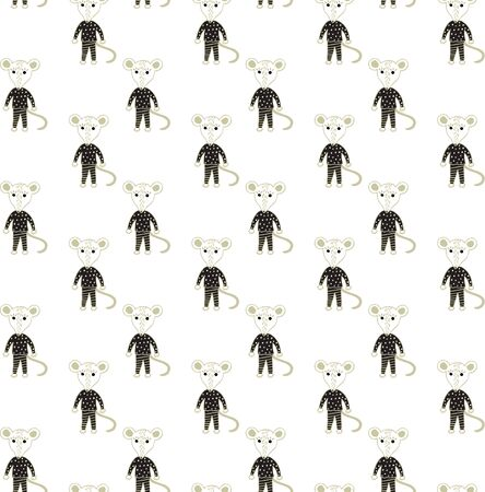 Scandinavian style seamless pattern of cute black and gold rat pups in Scandinavian style on a white background. Freehand drawing. For textiles, nursery, wallpaper, fabric, prints, wrapping paper, etc. Vector. Illusztráció