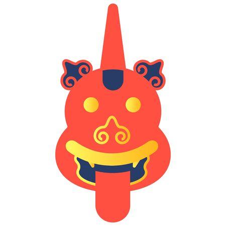 The face of the animal of Chinese mythology Ludun. Illustration on a white background. Vector.