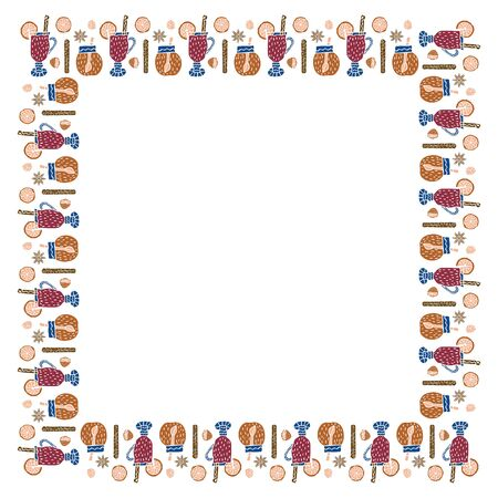 A square frame of mulled wine in glasses, cinnamon sticks, halves and slices of orange, pieces of sugar, jars of honey and baddle stars on a white background. For banners, cards, advertising. Vector.