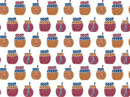Seamless pattern of jars of jam in the Scandinavian style on a white background. For wrapping paper, textiles, fabric, Wallpaper, etc. Hand drawing. Vector.
