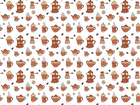 Seamless pattern of mugs of coffee, tea and cappuccino, a jugs of milk, coffee beans, a pieces of sugar, halves and a slices of lemon, sugar bowls, teapots, French Presses and cezve. Vector.