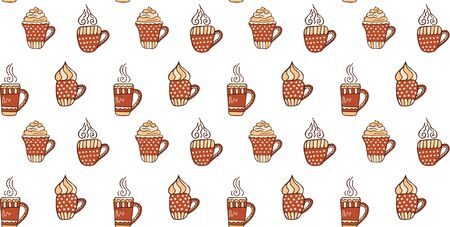 Seamless pattern of hand-drawn red-beige cups with tea, cappuccino and coffee, with foam and steam on a white background. Scandinavian style. Wrapping paper, wallpaper, fabric, textile, etc. Vector.