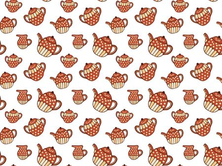 Seamless pattern of red-beige teapots, sugar bowls and jugs of milk on a white background. Hand drawing in scandinavian style. For wrapping paper, wallpaper, fabric, textile, decoration, etc. Vector. Illusztráció
