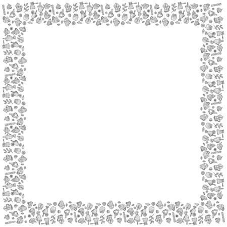 Black and white square frame of hand-drawn warming beverages and spices in Scandinavian style. Isolated template for the menu design, banners, cards, etc. Vector.