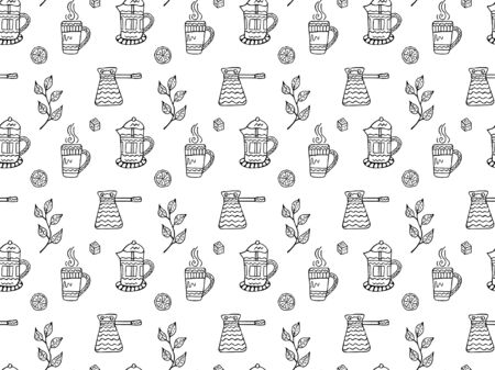 Seamless pattern of black-and-white French presses, cezve, mugs with steam, lemon slices, pieces of sugar and tea tree branches. Hand drawn doodles in scandinavian style. Vector. Illusztráció