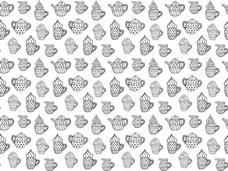 Seamless pattern of black and white coffee and tea cups with foam and steam, jugs of milk, sugar bowls and teapots. Hand drawn doodles in scandinavian style. Vector.