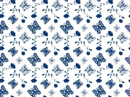Blue butterflies and abstract flowers on a white background. Seamless pattern. Vector.