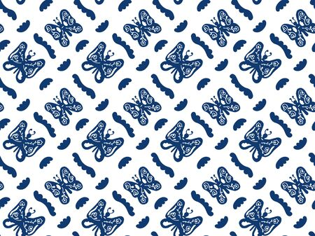 Seamless pattern of hand-drawn abstract blue butterflies with patterns inside and wavy shapes on a white background. Elegant decor for fabric, wallpaper, textile, wrapping paper, etc. Vector.