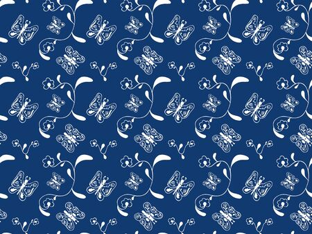 Seamless pattern of hand-drawn abstract white contour butterflies and flowers on a blue background. Elegant decor for fabric, wallpaper, textile, etc. Vector.