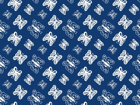 Seamless pattern in abstract white butterflies with patterns inside on a blue background. Hand-drawn decor. Vector.