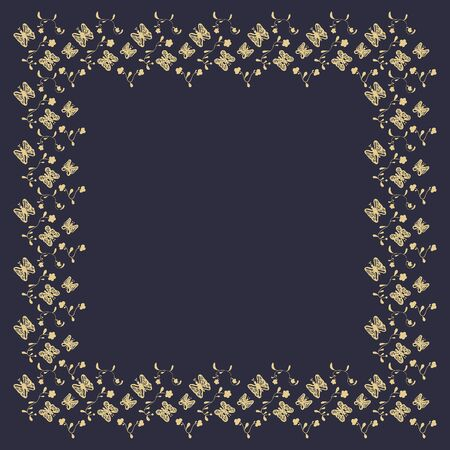 Square frame of abstract golden butterflies and flowers on a dark background. Hand drawing. For text, invitation, card, signboard, flyer, etc. Vector.