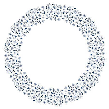 Round frame made of of hand-drawn abstract blue contour butterflies, wavy shapes and flowers on a white background. Elegant decor for card, flyer, invitation, etc. Vector.