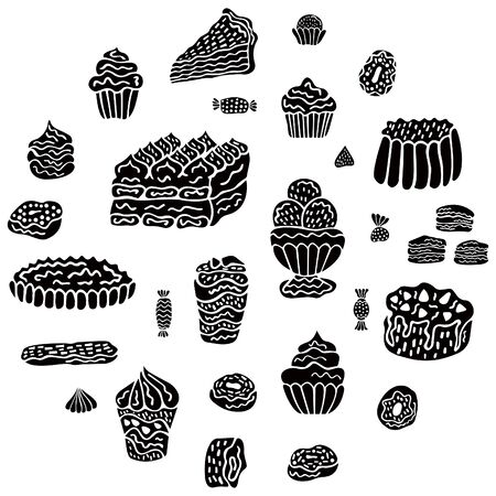 Set of black isolated sweets, desserts, cakes and donuts in Scandinavian style on a white background. For menu design, decor, etc. Vector. Illusztráció