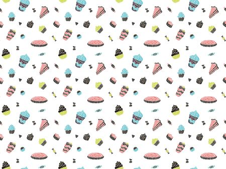 Seamless pattern of multi-colored cakes, pies, sweets, pieces of cake, cocktails and desserts in the Scandinavian style on a white background. Vector. Stock fotó - 133468490