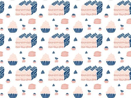 Seamless pattern of pink-blue desserts of tiramisu, cakes, macarons and truffes in Scandinavian style on a white background. Vector.