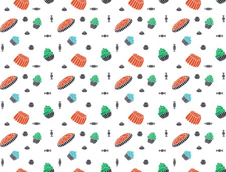 Seamless pattern of jelly, cakes, pies, meringues, muffins and sweets in the Scandinavian style on a white background. For wrapping paper, packaging, wallpaper, fabric, etc. Vector. Illustration
