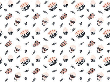 Scandinavian style seamless pattern of black-pink-red cakes, sweets, tiramisu strawberries, meringues, cupcakes and cranachan on a white background. For wrapping paper, wallpaper, fabric, etc. Vector.