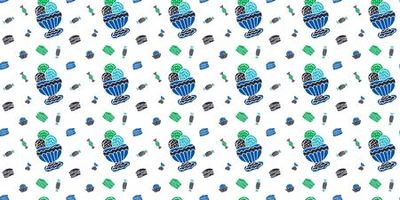 Seamless pattern of Ice cream, macarons, bouchees, sweets, on a white background. Scandinavian style. Blue, green and black colors. For wrapping paper, wallpaper, fabric, etc. Vector.