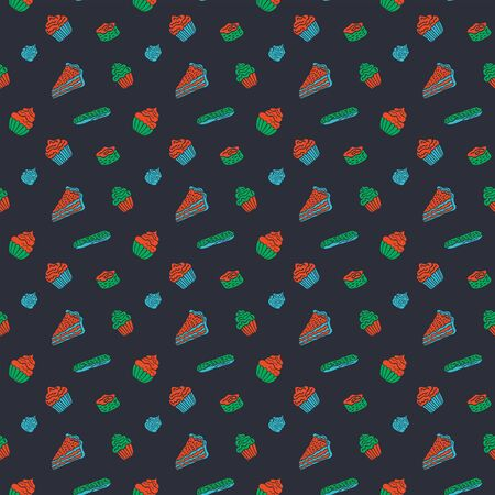 Seamless pattern in cakes, cupcakes, rolls, profiteroles and eclairs on a black background. Scandinavian style. For wrapping paper, packaging, wallpaper, fabric, etc. Vector. Illustration