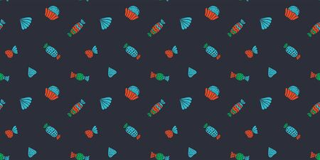 Scandinavian style seamless pattern of sweets, truffes and meringues on a black background. Bright colors. For wrapping paper, packaging, wallpaper, etc. Vector.