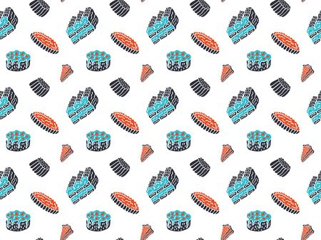 Seamless pattern of tiramisu, berry cakes, puddings and pies in black, blue and red colors on a white background. Scandinavian style design for wallpaper, wrapping paper, etc. Vector.