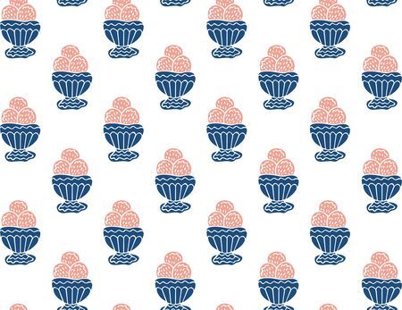 Seamless pattern of abstract ice cream in a bowl on a white background. Hand drawing. Vector. Illusztráció