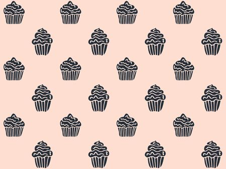 Seamless pattern of black muffins on a pastel pink background. Hand drawing. Vector.